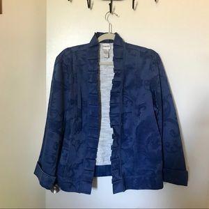 NWOT Chico's Blue Floral Brocade Jacket Size 2